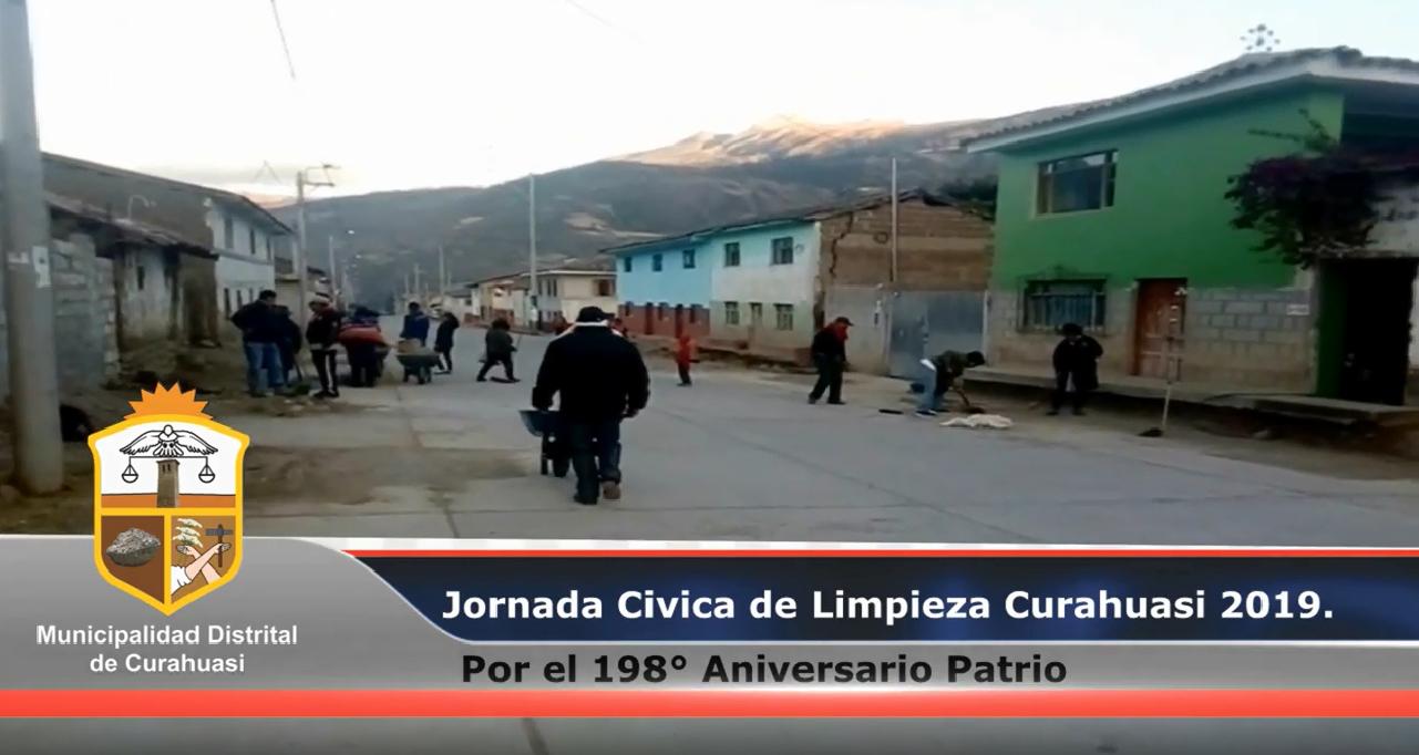 Lunes 22 de Julio se realizó, la limpieza general del Distrito de Curahuasi por el 198° Aniversario